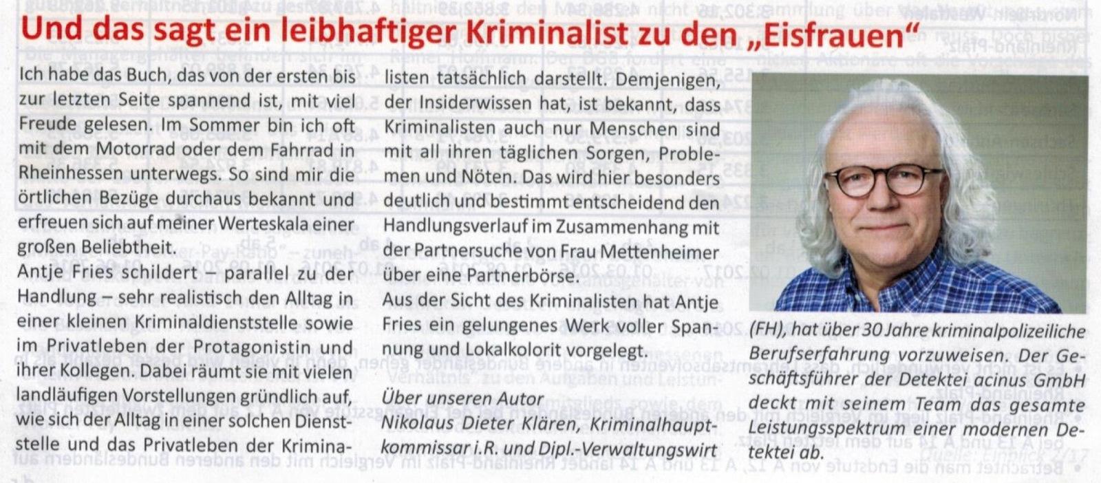 """Kommentar des Geschäftsführers zu dem Krimi """"Grauen mit Eisfrauen"""" von Antje Fries, erschienen beim Leinpfad Verlag"""